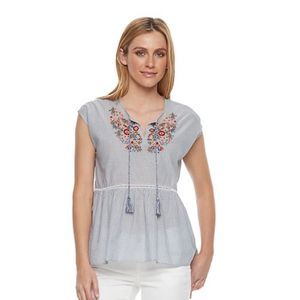 Kohls Sonoma Embroidered Peplum Top
